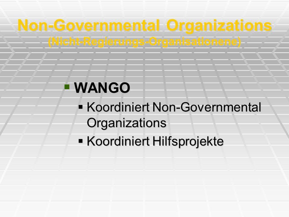 Non-Governmental Organizations (Nicht-Regierungs-Organisationene) WANGO WANGO Koordiniert Non-Governmental Organizations Koordiniert Non-Governmental