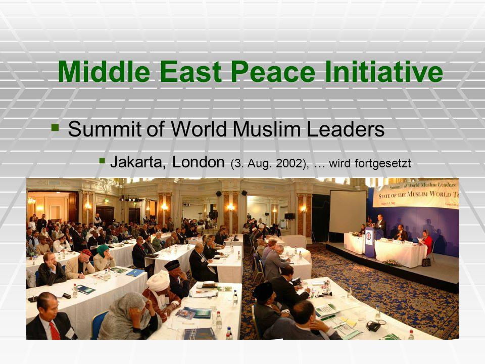Summit of World Muslim Leaders Summit of World Muslim Leaders Jakarta, London (3. Aug. 2002), … wird fortgesetzt Jakarta, London (3. Aug. 2002), … wir