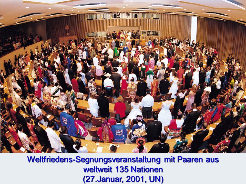 Weltfriedens-Segnungsveranstaltung mit Paaren aus weltweit 135 Nationen (27.Januar, 2001, UN)