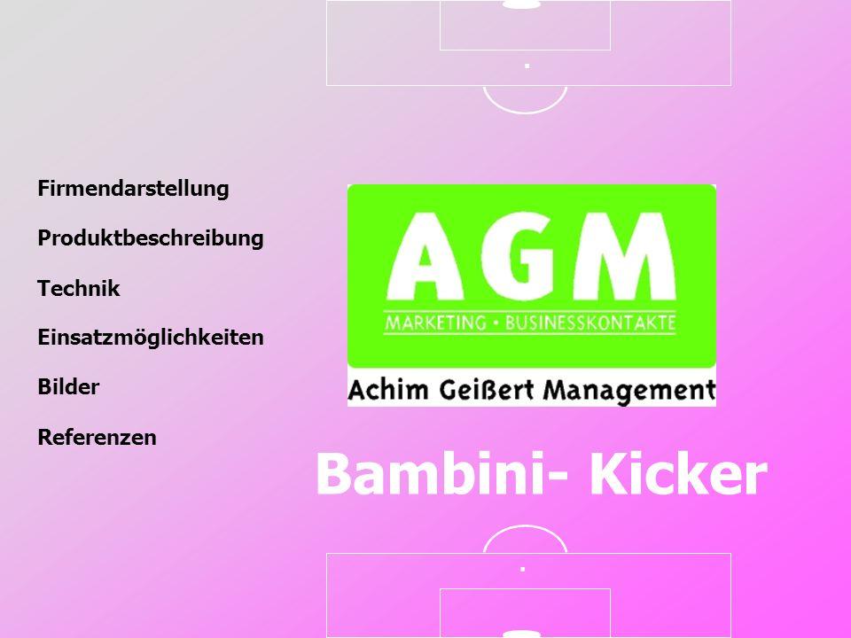 Firmendarstellung Produktbeschreibung Technik Referenzen Einsatzmöglichkeiten Bilder Bambini- Kicker..