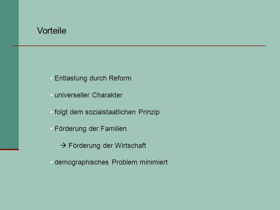 Vorteile Entlastung durch Reform universeller Charakter folgt dem sozialstaatlichen Prinzip Förderung der Familien Förderung der Wirtschaft demographi