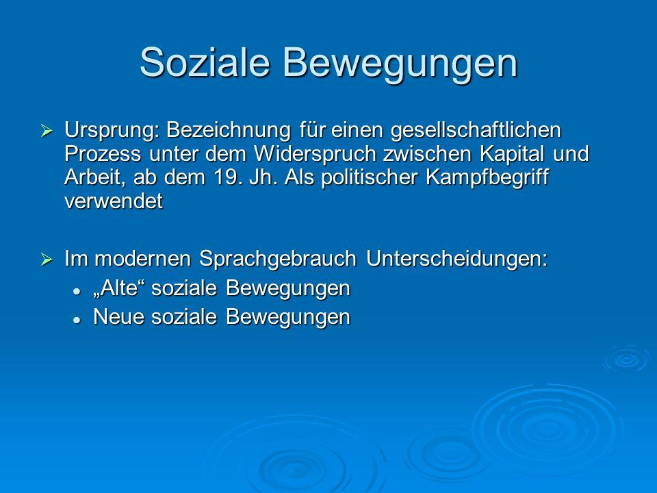 Soziale Bewegungen Ursprung: Bezeichnung für einen gesellschaftlichen Prozess unter dem Widerspruch zwischen Kapital und Arbeit, ab dem 19. Jh. Als po