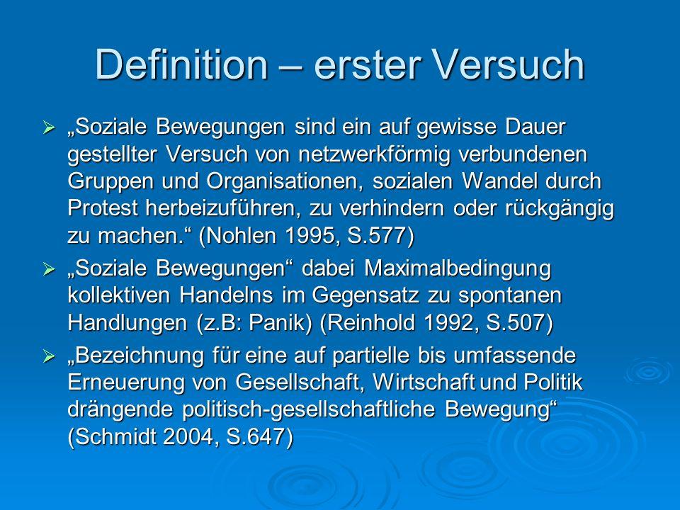 Definition – erster Versuch Soziale Bewegungen sind ein auf gewisse Dauer gestellter Versuch von netzwerkförmig verbundenen Gruppen und Organisationen