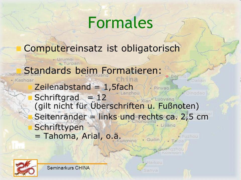 Formales Computereinsatz ist obligatorisch Standards beim Formatieren: Zeilenabstand = 1,5fach Schriftgrad= 12 (gilt nicht für Überschriften u. Fußnot