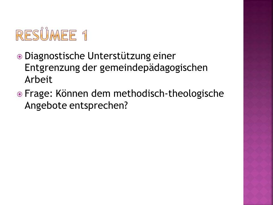 Diagnostische Unterstützung einer Entgrenzung der gemeindepädagogischen Arbeit Frage: Können dem methodisch-theologische Angebote entsprechen?