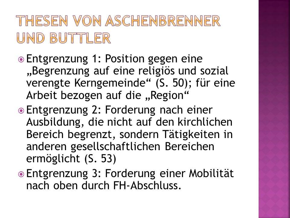 Entgrenzung 1: Position gegen eine Begrenzung auf eine religiös und sozial verengte Kerngemeinde (S. 50); für eine Arbeit bezogen auf die Region Entgr