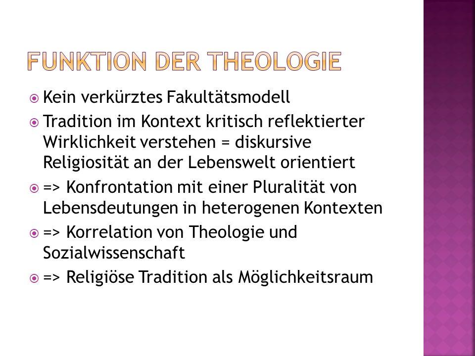 Kein verkürztes Fakultätsmodell Tradition im Kontext kritisch reflektierter Wirklichkeit verstehen = diskursive Religiosität an der Lebenswelt orienti