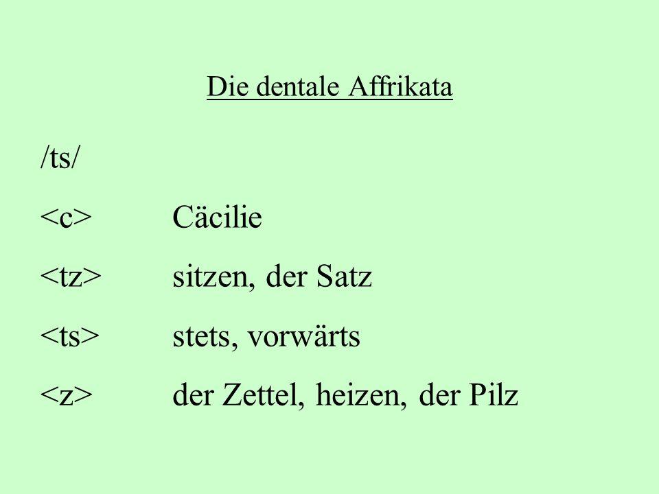 Die dentale Affrikata /ts/ Cäcilie sitzen, der Satz stets, vorwärts der Zettel, heizen, der Pilz