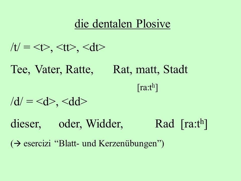 die dentalen Plosive /t/ =,, Tee, Vater, Ratte, Rat, matt, Stadt [ra:t h ] /d/ =, dieser, oder, Widder, Rad [ra:t h ] ( esercizi Blatt- und Kerzenübun