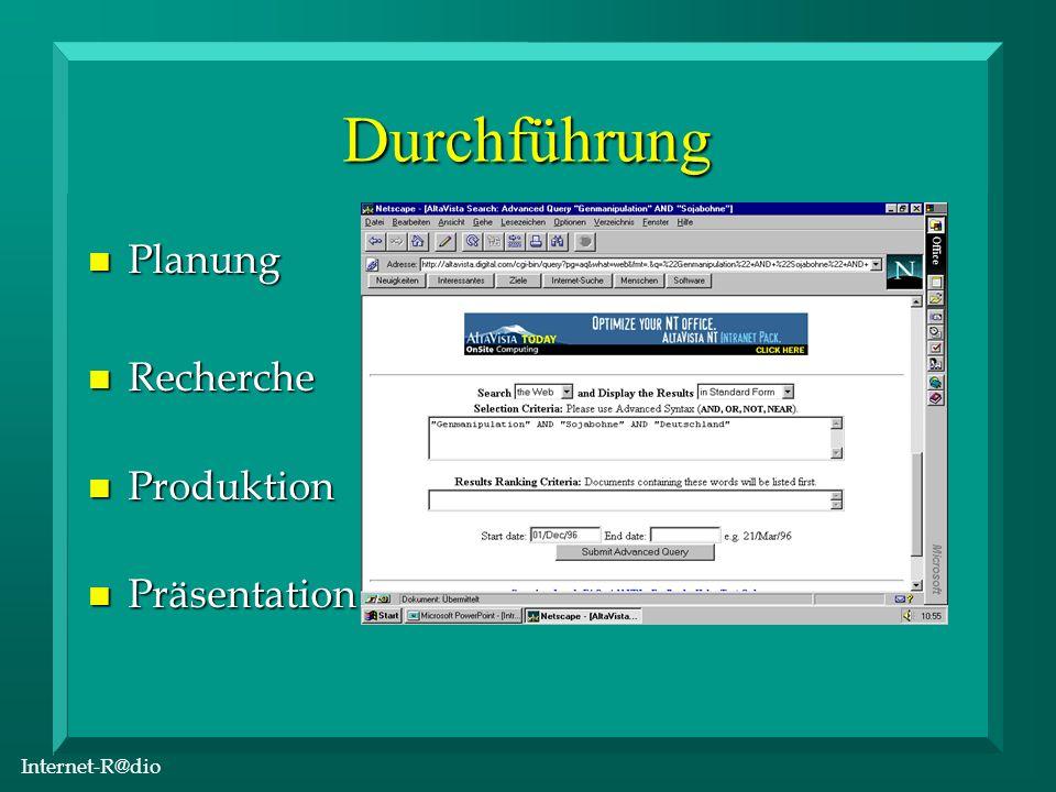 Internet-R@dio Durchführung n Planung n Recherche n Produktion n Präsentation