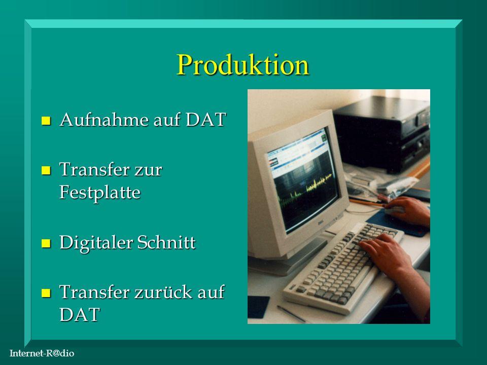 Internet-R@dio Produktion n Aufnahme auf DAT n Transfer zur Festplatte n Digitaler Schnitt n Transfer zurück auf DAT