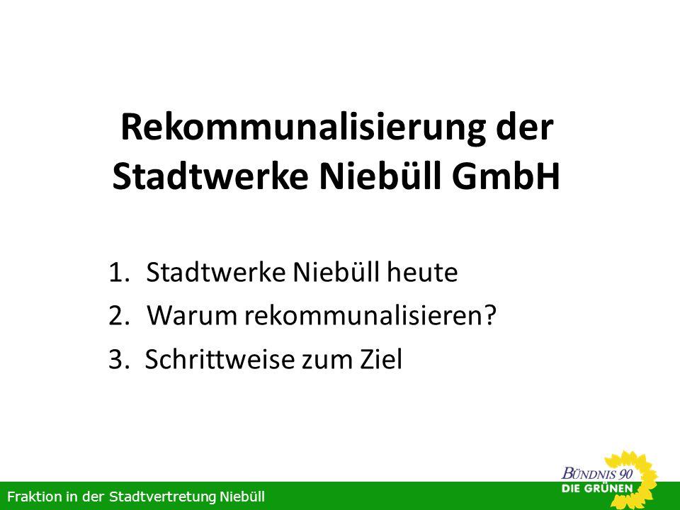 Stadtwerke Niebüll heute Wirtschaftlich gesundes Unternehmen (Kapitaldecke von über 60%) 49,9% der Erträge stehen der E.ON Hanse AG zu Fraktion in der Stadtvertretung Niebüll