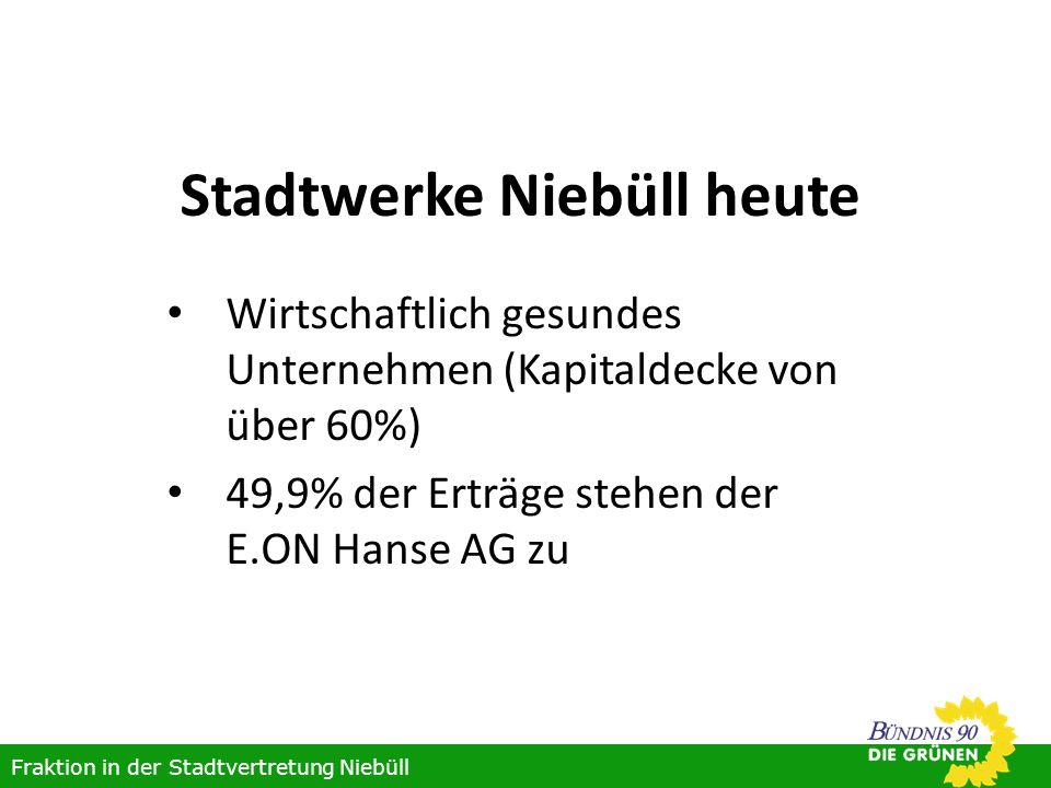Stadtwerke Niebüll heute Wirtschaftlich gesundes Unternehmen (Kapitaldecke von über 60%) 49,9% der Erträge stehen der E.ON Hanse AG zu Fraktion in der