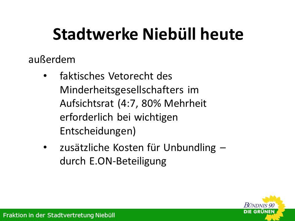 Stadtwerke Niebüll heute außerdem faktisches Vetorecht des Minderheitsgesellschafters im Aufsichtsrat (4:7, 80% Mehrheit erforderlich bei wichtigen Entscheidungen) zusätzliche Kosten für Unbundling – durch E.ON-Beteiligung Fraktion in der Stadtvertretung Niebüll