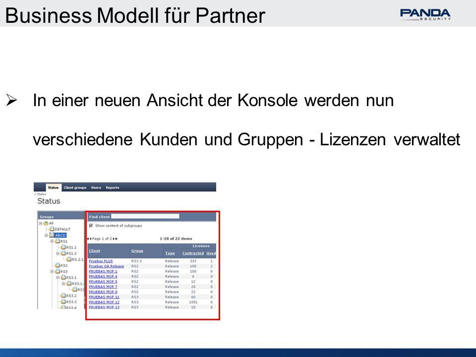 Business Modell für Partner In einer neuen Ansicht der Konsole werden nun verschiedene Kunden und Gruppen - Lizenzen verwaltet