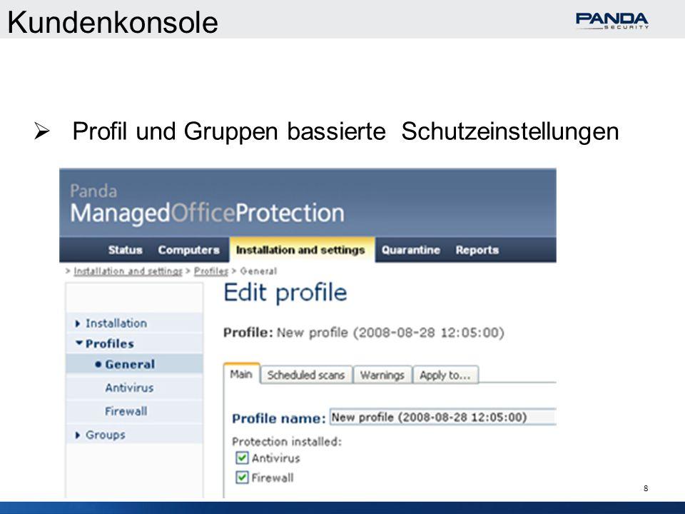 8 Kundenkonsole Profil und Gruppen bassierte Schutzeinstellungen