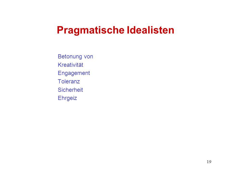19 Pragmatische Idealisten Betonung von Kreativität Engagement Toleranz Sicherheit Ehrgeiz