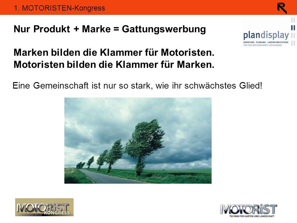 1. MOTORISTEN-Kongress Nur Produkt + Marke = Gattungswerbung Marken bilden die Klammer für Motoristen. Motoristen bilden die Klammer für Marken. Eine