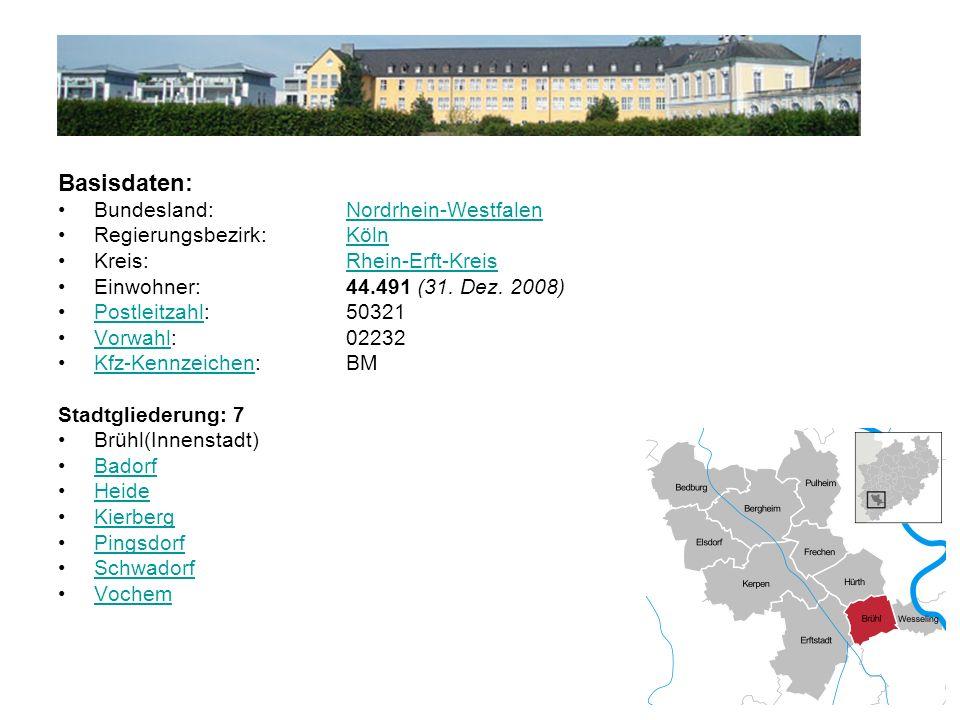 Basisdaten: Bundesland: Nordrhein-WestfalenNordrhein-Westfalen Regierungsbezirk: KölnKöln Kreis: Rhein-Erft-KreisRhein-Erft-Kreis Einwohner: 44.491 (31.