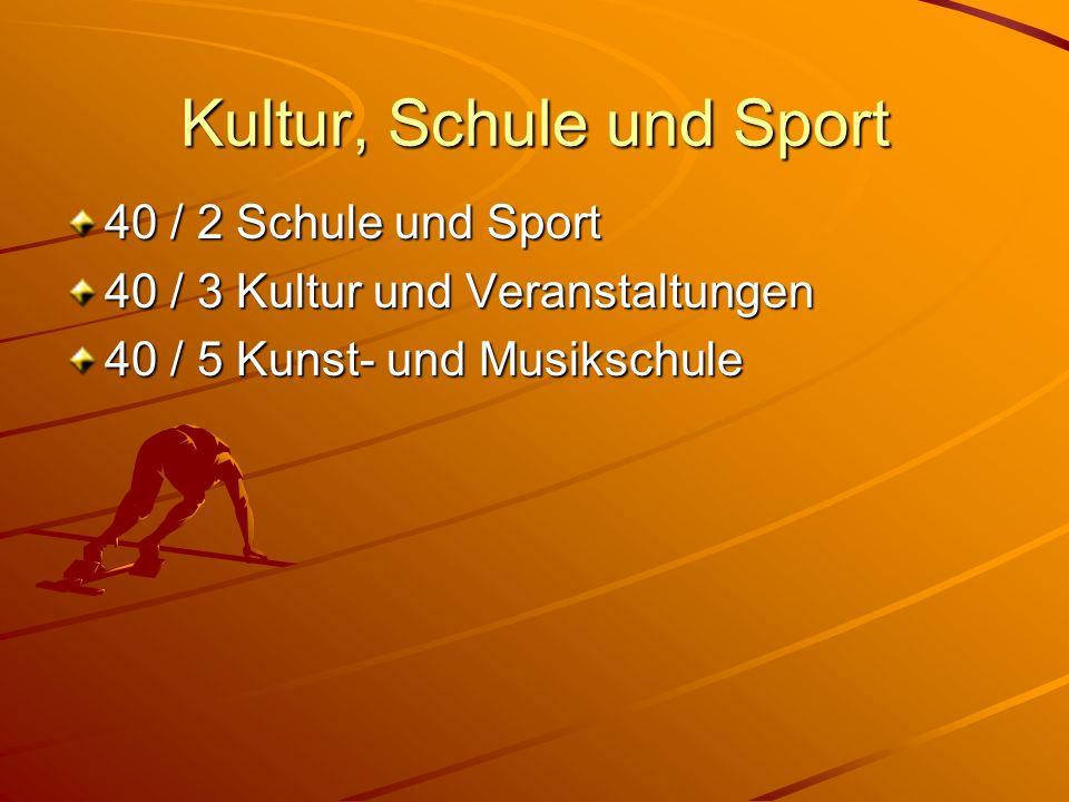 Kultur, Schule und Sport 40 / 2 Schule und Sport 40 / 3 Kultur und Veranstaltungen 40 / 5 Kunst- und Musikschule
