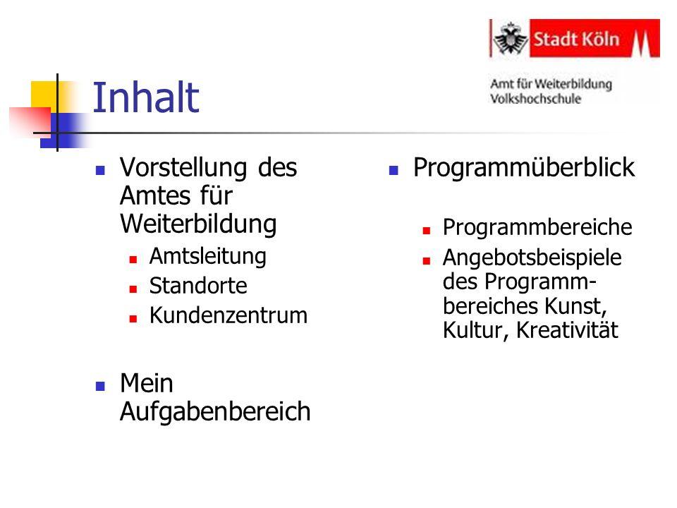 Vorstellung Amt für Weiterbildung Amtsleitung geleitet von Frau Gabriele Hammelrath seit 2005 LQW-zertifiziert ( Lernerorientierten Qualitätsmodell für Weiterbildungseinrichtungen)