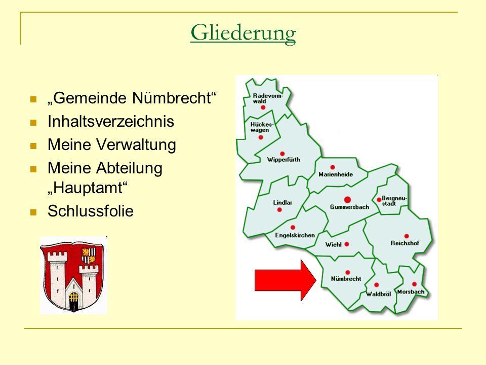 Gliederung Gemeinde Nümbrecht Inhaltsverzeichnis Meine Verwaltung Meine Abteilung Hauptamt Schlussfolie