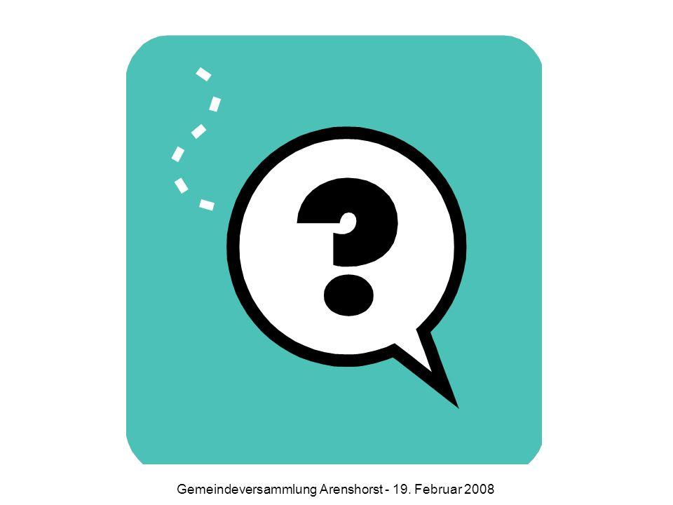 Ausblick / Diskussion Folge: derzeitiger Pfarrstelleninhaber muss Pfarrstelle wechseln oder sich in Arenshorst auf eine 0,75-Pfarrstelle versetzen lassen Alternative A KG Arenshorst unternimmt nichts.