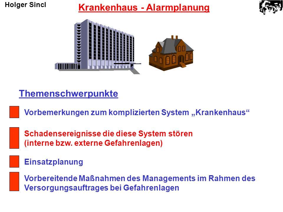 Themenschwerpunkte Vorbemerkungen zum komplizierten System Krankenhaus Schadensereignisse die diese System stören (interne bzw. externe Gefahrenlagen)