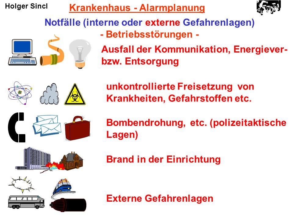 Krankenhaus - Alarmplanung Notfälle (interne oder externe Gefahrenlagen) - Betriebsstörungen - Ausfall der Kommunikation, Energiever- bzw. Entsorgung