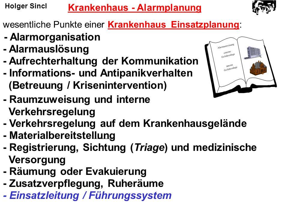 Krankenhaus - Alarmplanung Alarmanweisung externe Gefahrenlage interne Gefahrenlage wesentliche Punkte einer Krankenhaus Einsatzplanung: - Alarmorgani