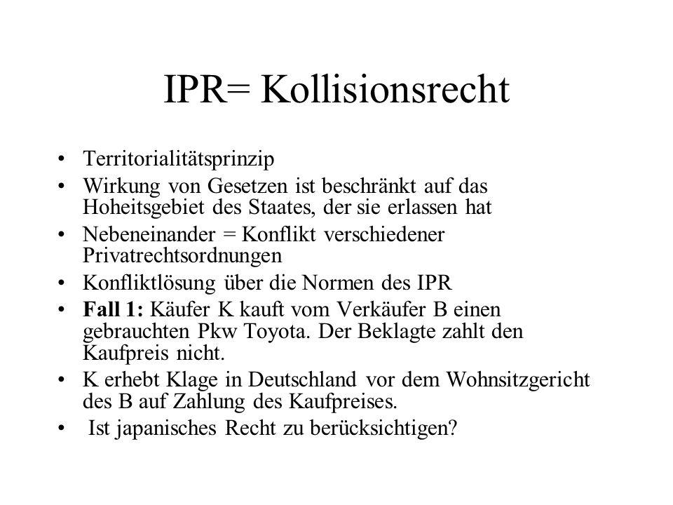 IPR= Kollisionsrecht Territorialitätsprinzip Wirkung von Gesetzen ist beschränkt auf das Hoheitsgebiet des Staates, der sie erlassen hat Nebeneinander