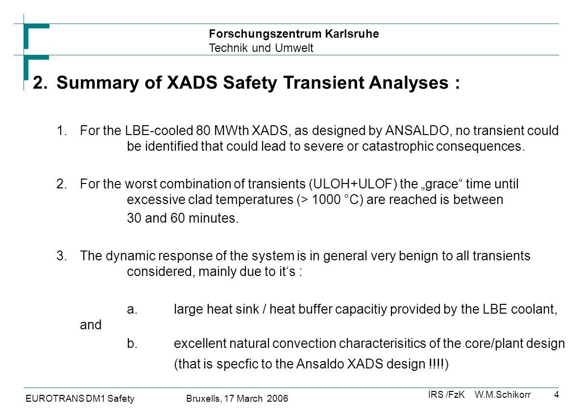 Forschungszentrum Karlsruhe Technik und Umwelt IRS /FzK W.M.Schikorr EUROTRANS DM1 Safety Bruxells, 17 March 2006 5 3a.List of Transients that were analyzed for the LBE-cooled 80 MW PDS-XADS (Ansaldo-Design)