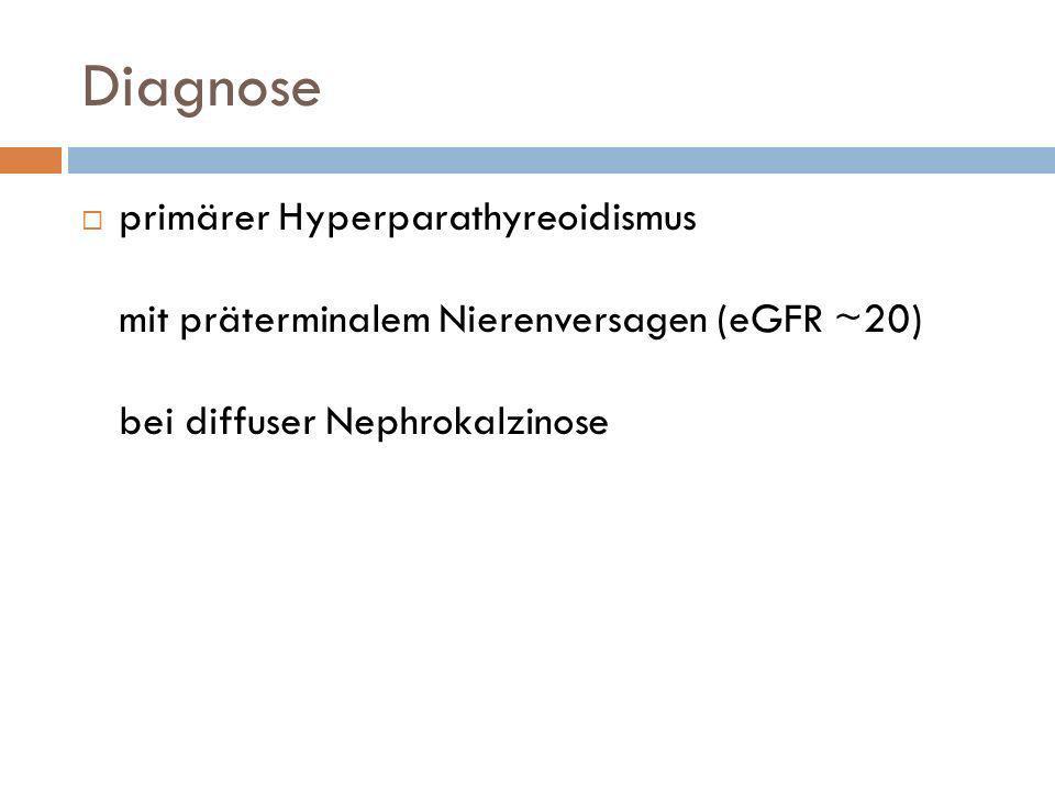 Diagnose primärer Hyperparathyreoidismus mit präterminalem Nierenversagen (eGFR ~20) bei diffuser Nephrokalzinose