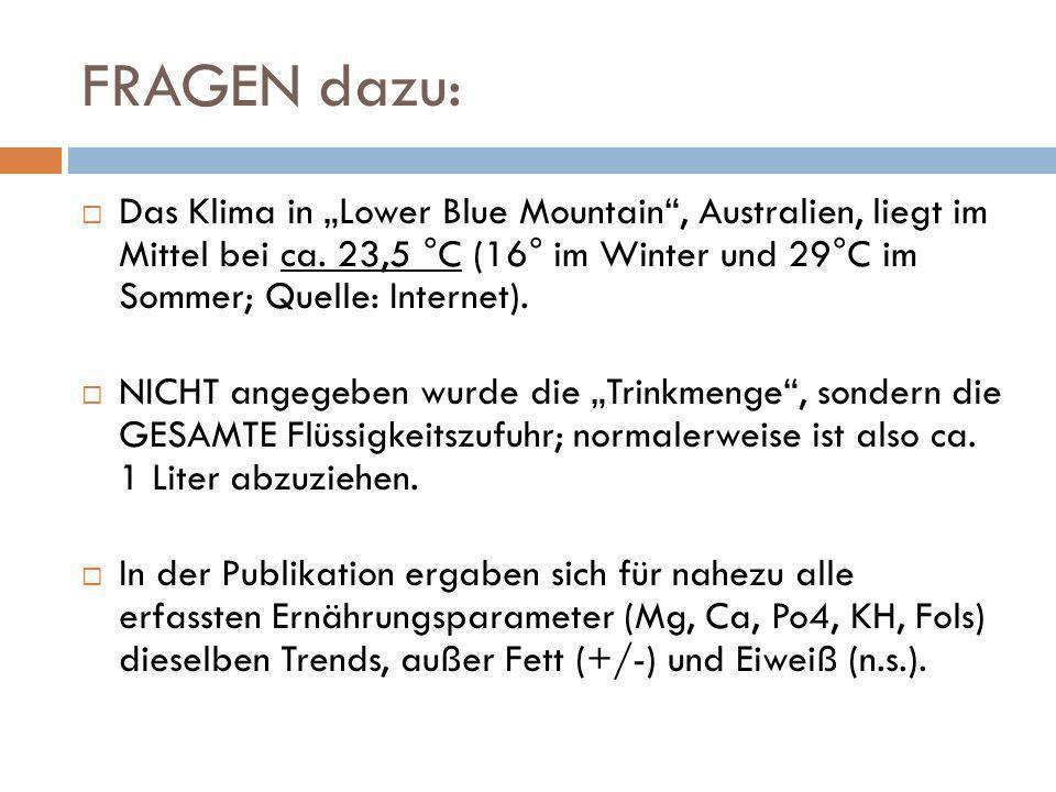 FRAGEN dazu: Das Klima in Lower Blue Mountain, Australien, liegt im Mittel bei ca. 23,5 °C (16° im Winter und 29°C im Sommer; Quelle: Internet). NICHT