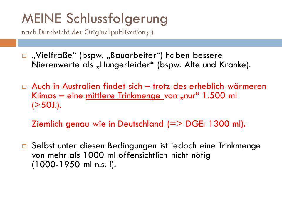 MEINE Schlussfolgerung nach Durchsicht der Originalpublikation ;-) Vielfraße (bspw. Bauarbeiter) haben bessere Nierenwerte als Hungerleider (bspw. Alt