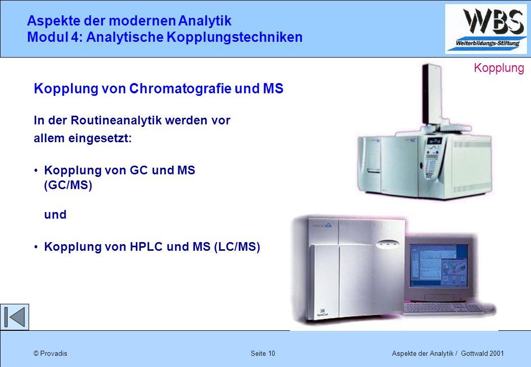 © ProvadisAspekte der Analytik / Gottwald 2001 Aspekte der modernen Analytik Modul 4: Analytische Kopplungstechniken Seite 10 Kopplung von Chromatogra