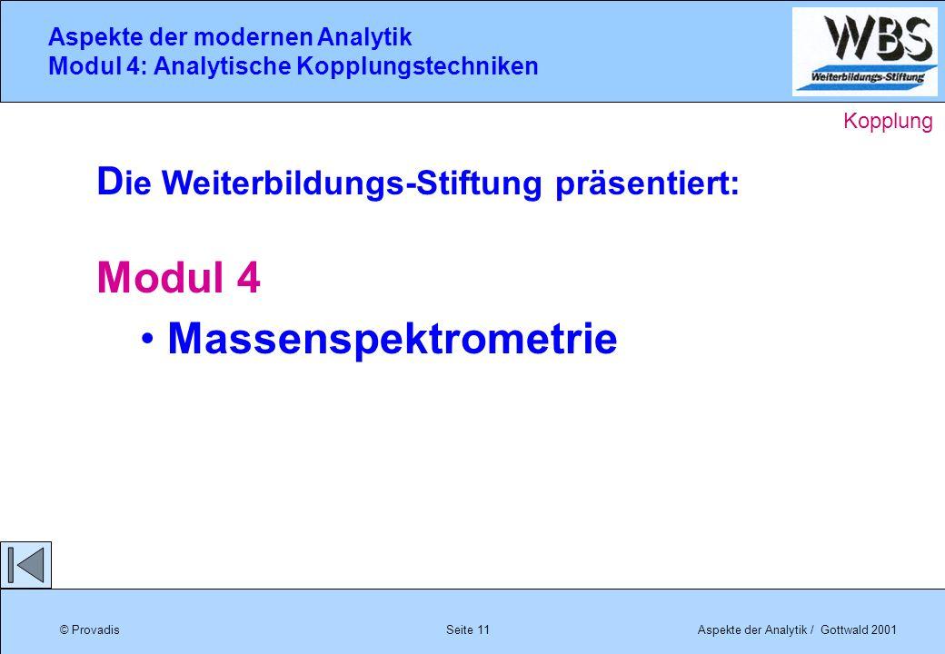 © ProvadisAspekte der Analytik / Gottwald 2001 Aspekte der modernen Analytik Modul 4: Analytische Kopplungstechniken Seite 11 Kopplung D ie Weiterbild