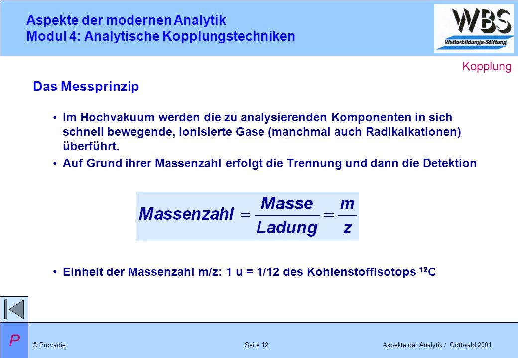 © ProvadisAspekte der Analytik / Gottwald 2001 Aspekte der modernen Analytik Modul 4: Analytische Kopplungstechniken Seite 12 Im Hochvakuum werden die
