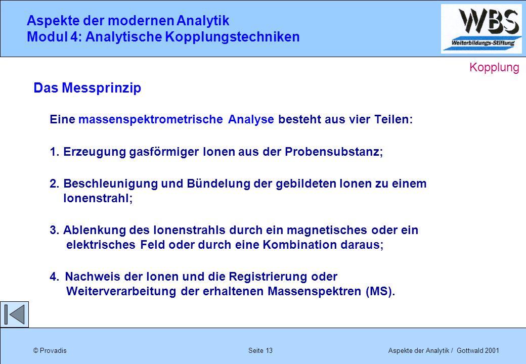 © ProvadisAspekte der Analytik / Gottwald 2001 Aspekte der modernen Analytik Modul 4: Analytische Kopplungstechniken Seite 13 Das Messprinzip Eine mas