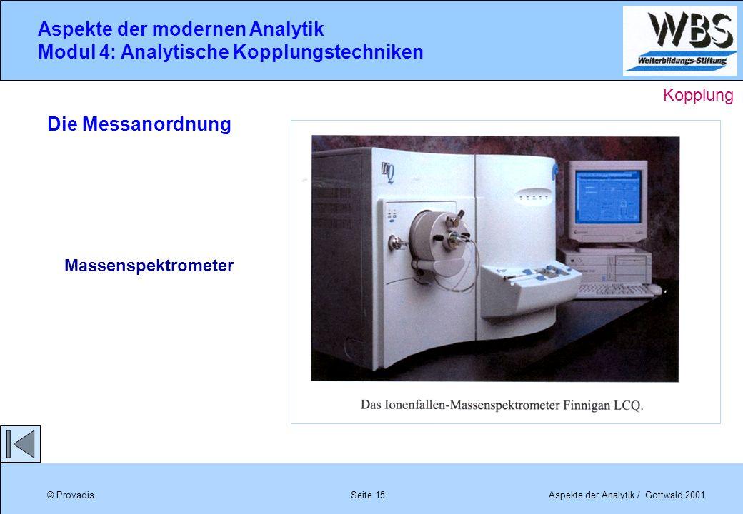 © ProvadisAspekte der Analytik / Gottwald 2001 Aspekte der modernen Analytik Modul 4: Analytische Kopplungstechniken Seite 15 Die Messanordnung Massen