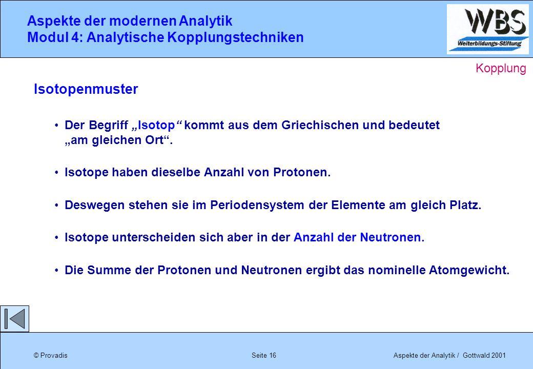 © ProvadisAspekte der Analytik / Gottwald 2001 Aspekte der modernen Analytik Modul 4: Analytische Kopplungstechniken Seite 16 Isotopenmuster Der Begri
