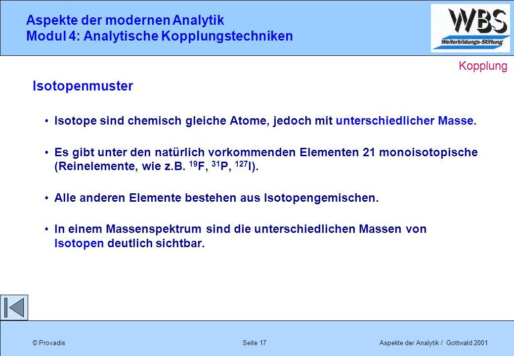 © ProvadisAspekte der Analytik / Gottwald 2001 Aspekte der modernen Analytik Modul 4: Analytische Kopplungstechniken Seite 17 Isotopenmuster Isotope s