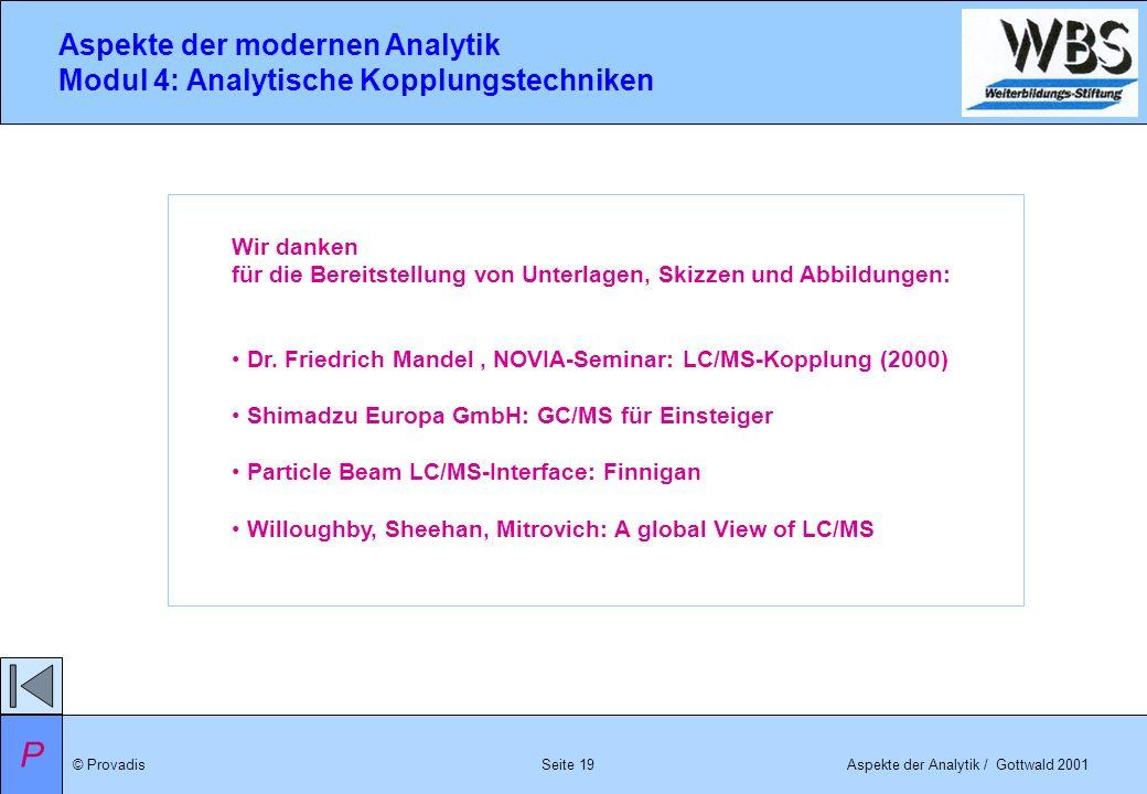 © ProvadisAspekte der Analytik / Gottwald 2001 Aspekte der modernen Analytik Modul 4: Analytische Kopplungstechniken Seite 19 P Wir danken für die Ber