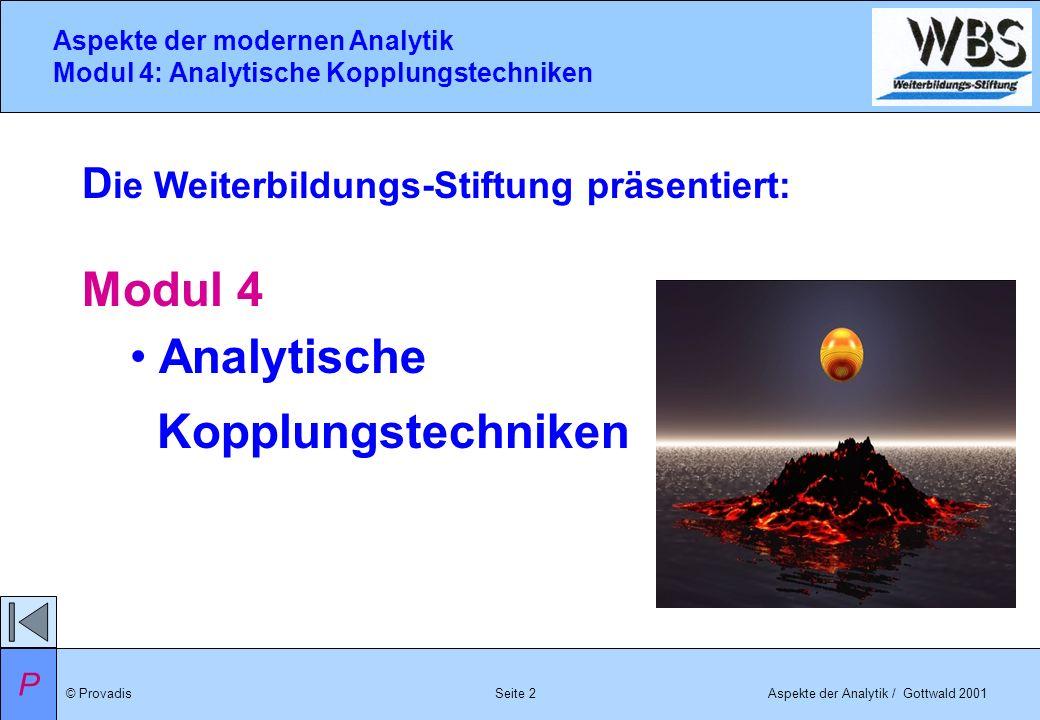 © ProvadisAspekte der Analytik / Gottwald 2001 Aspekte der modernen Analytik Modul 4: Analytische Kopplungstechniken Seite 2 D ie Weiterbildungs-Stift