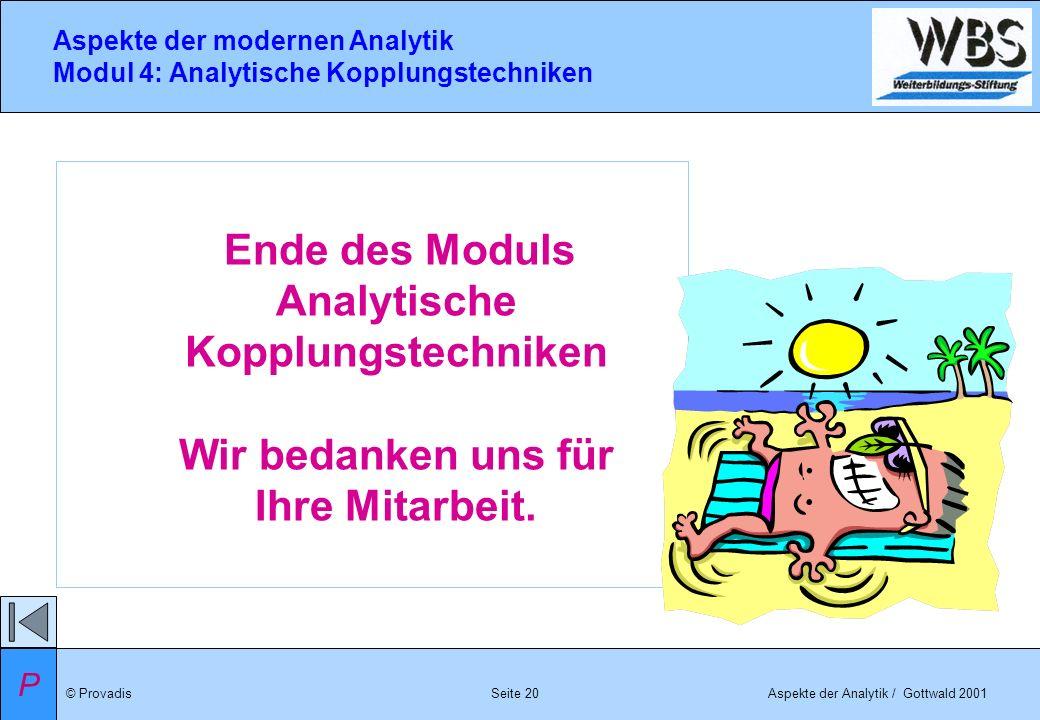 © ProvadisAspekte der Analytik / Gottwald 2001 Aspekte der modernen Analytik Modul 4: Analytische Kopplungstechniken Seite 20 Ende des Moduls Analytis