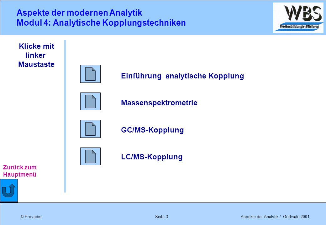 © ProvadisAspekte der Analytik / Gottwald 2001 Aspekte der modernen Analytik Modul 4: Analytische Kopplungstechniken Seite 3 Einführung analytische Ko