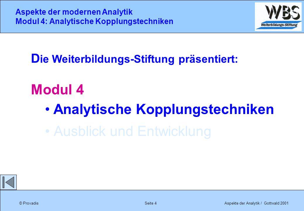 © ProvadisAspekte der Analytik / Gottwald 2001 Aspekte der modernen Analytik Modul 4: Analytische Kopplungstechniken Seite 4 D ie Weiterbildungs-Stift
