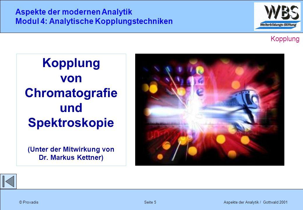 © ProvadisAspekte der Analytik / Gottwald 2001 Aspekte der modernen Analytik Modul 4: Analytische Kopplungstechniken Seite 5 Kopplung von Chromatograf