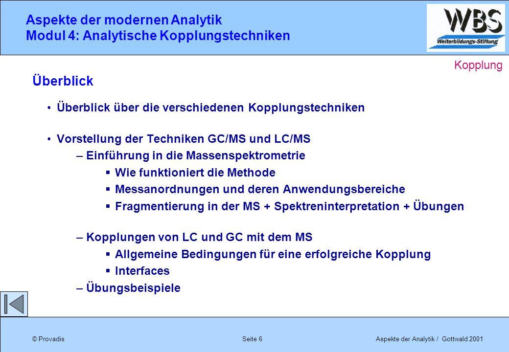 © ProvadisAspekte der Analytik / Gottwald 2001 Aspekte der modernen Analytik Modul 4: Analytische Kopplungstechniken Seite 6 Überblick über die versch