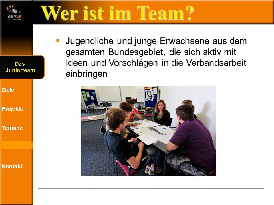Das DTTB- Juniorteam Ziele Projekte Termine Andere JTs Kontakt Sonstige Eindrücke ?.